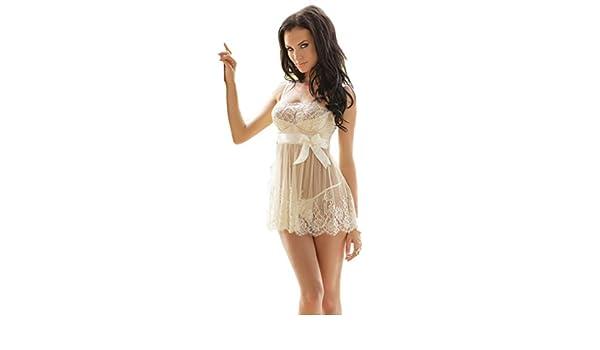 Las mujeres vestidos, para mujer pijamas de malla de novia blanco ...