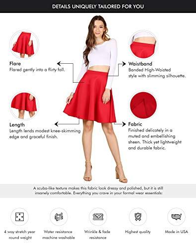 Women's Midi Skater Skirt Flared Stretch Skirt for Women Reg & Plus Size.Casual A line,Basic Everyday Wear,Formal Office