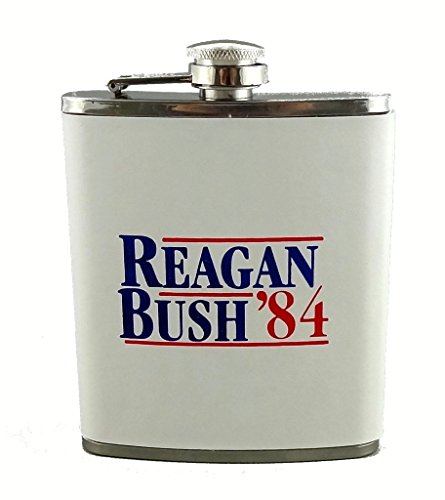 [Funny Guy Mugs Reagan Bush '84 Stainless Steel Flask, White, 7-Ounce] (Funny Costume For 2 Guys)