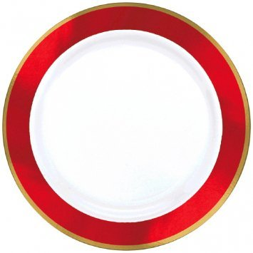 (Amscan 430584.40 Premium Plastic Round party-plates, 7 1/2 inches, White with Red Border)