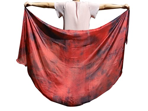 Rolled Edge Veil - Winged Sirenny 1set (2pcs) Half Circle 6 Mommes Belly Dance Double Veils, Hand Rolled Edges (Lava)