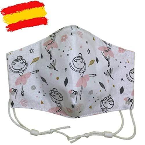 Mascarilla higiénica infantil homologada UNE 0065 niña 5-6-7 años con filtro fijo lavable_marca: Brissa España