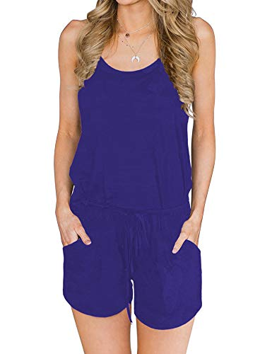 ANRABESS Women Summer Loose Solid Sleeveless Jumpsuit Rompers Spaghetti Strap Adjustable Waist Short Pant Rompers Royal Blue-S BYF-46