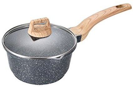 (Carote 6.3 Inch/1 Quart Milk Saucepan PFOA Free Stone-Derived Non-Stick Coating From Switzerland, Bakelite Handle With Wood Effect (Soft Touch) With Lid, Suitable For All Stove Including Induction)