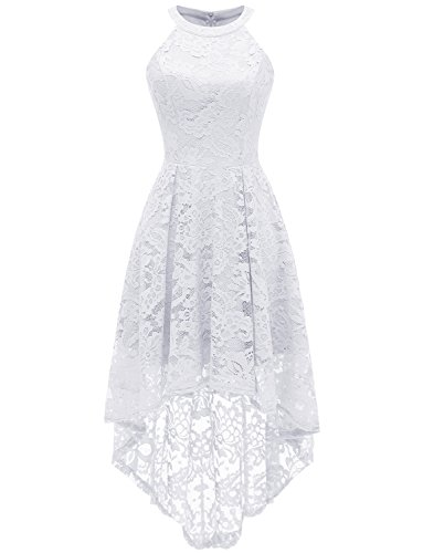 Dressystar 0028 Halter Floral Lace Cocktail Party Dress Hi-Lo Bridesmaid Dress M White