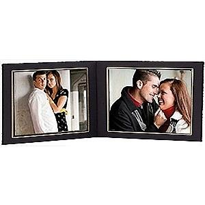 black cardstock paper double 10x8 landscape photomount folder wgold foil border sold in 10s - Double 8x10 Frame