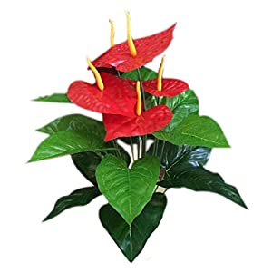 18 Heads Wedding Furniture Decor Artificial Anthurium Flower Plant Tree Foliage 89