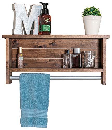 Drakestone Designs Bathroom Shelf with Towel Bar | Solid Wood | Wall Mount | Modern Farmhouse Decor | 12 x 24 Inch…
