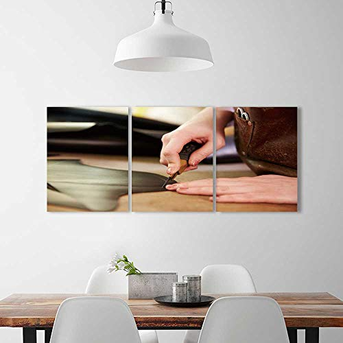 Frameless Paintings 3 Pieces Painting shoemaker cutting leather in a workshop close up to liven up and energize any wall or room. W36