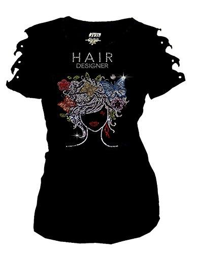 Bling Hair Stylist Rhinestone T-Shirt Ripped Cut Out Designer Short (Medium)