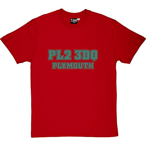 Argyle Print Tee (Plymouth Argyle Postcode Red Men's T-Shirt Large (Green Print))