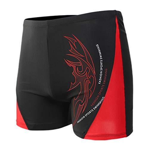 - STORTO Mens Boxer Briefs Jammers Swimsuit - Endurance+ Nylon Solid Square Leg Sports Swim Trunks Red