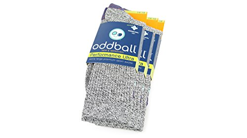 Oddball Performance Plus II Herren Crew Socken XXL (Herrengröße 14-18) (3er Pack) Sportliches Grau