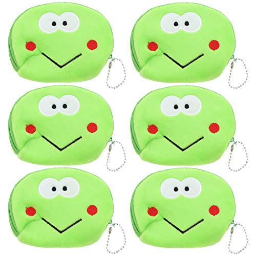 Large Animal Face Coin Purse Plush Wallet - Set of 6 - Lime
