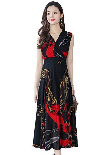 f81def93e Wincolor Womens Summer Sleeveless V-Neck Floral Printed A-line Maxi Long  Chiffon Dress
