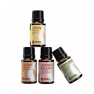 Rocky Mountain Oils - Single Essential Kit | 100% Pure & Natural Essential Oils | Includes Lemon, Tea Tree, Lavender Bulgaria, & Peppermint Aromas