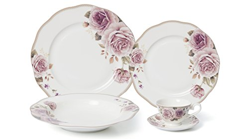 Royalty Porcelain 20-pc Dinner Set for 4, 24K Gold, Premium Bone China (Pink Rose)