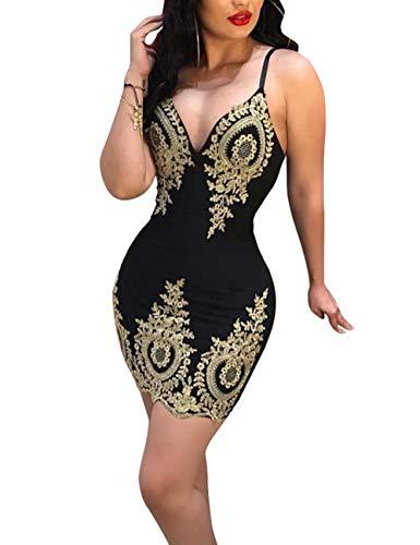 Kalin LWomen Applique Plunge V Neck Spaghetti Strap Backless Mini Bodycon Club Evening Dress, 1# Black, Large