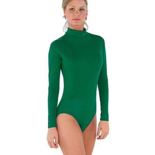 CC SpiritWear 100% Stretch Nylon Bodysuit, A2L, Kelly Green