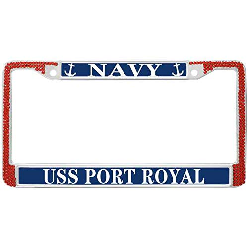 (FeKa Case Red Bling Crystal Car Licenses Plate Frame USS Port Royal Navy License Plate Aluminum Cover Stainless Steel Metal USA Navy License Plate Frame Shiny)