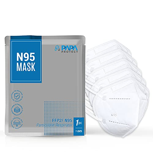 PAPA Protect N-95 Face Masks for Men and Women   BFE & PFE ≥ 99.5%   Single Piece n-95 mask Packing   5-Layers of Non…