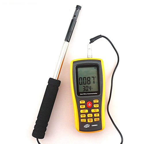 GM8903 Hot Wire Digital Anemometer 0~30m/s Air Temperature Meter 0~45C Wind Speed Flow Tester with USB by YARUIFANSEN