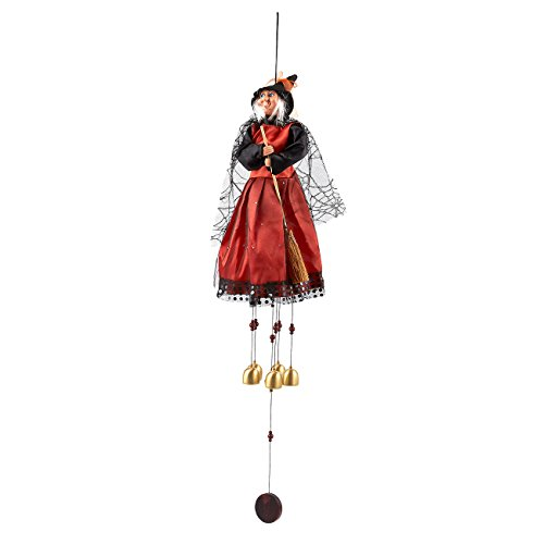 Juvale Flying Witch on Broomstick Wind Chimes - Perfect for Halloween - Outdoor Halloween Decoration, 31 Inches in Total Height