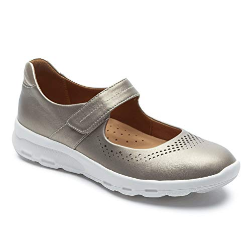 Rockport Lets Walk Womens Mary Jane - Comfort Shoe Taupe - 8 Wide (Mary Shoes Rockport Women Jane)
