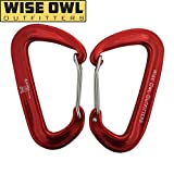"Wise Owl Outfitters Wiregate Carabiner Clip Set 12 KN Heavy Duty, Lightweight Aircraft Grade Aluminum - Great Gear for Hammock Camping - Wise Owl ""WiseClips"" – Red"