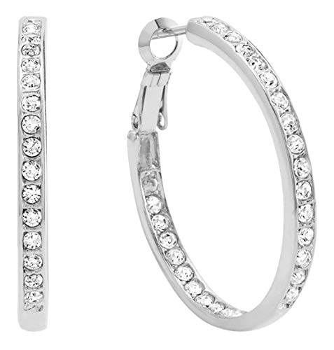 Bellina Bridal Wedding Austrian Crystal Rhinestone High Shine Inside-Out Hoop Earrings Silver 1 3/8 Inch (SSL)