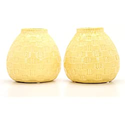 "Hosley Set of 2 Ceramic Yellow Vases - 6.5"" High. Ideal Gift for Home, Weddings, Party, Spa, Meditation, Home Office, Reiki, Meditation O9"