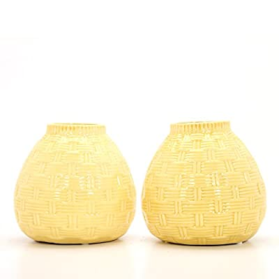 "Hosley Set of 2 Ceramic Yellow Vases - 6.5"" High. Ideal Gift for Home, Weddings, Party, Spa, Meditation, Home Office, Reiki, Meditation O9 - PRODUCT: Hosley's Set of 2, 6.5'' High Yellow Ceramic Vases. USE: Great for adding a decorative touch to any room's decor. Wonderful accent piece for coffee tables or side tables. Perfect for everyday use, wedding, events, aromatherapy,Spa, Reiki, Meditation. BENEFITS: They can accent your home or office for the right decor with or without floral or greenery additions. - vases, kitchen-dining-room-decor, kitchen-dining-room - 41Z0VBD%2BHqL. SS400  -"
