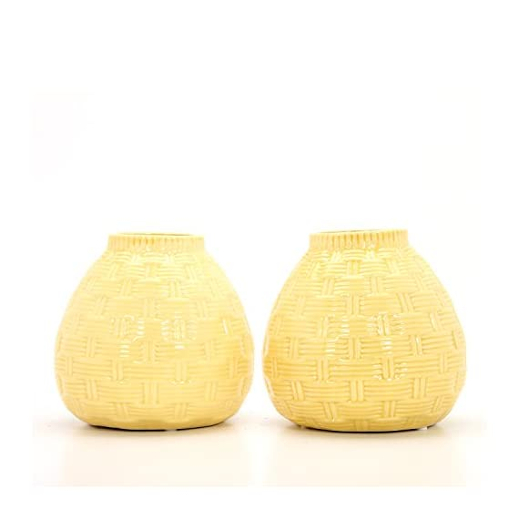 "Hosley Set of 2 Ceramic Yellow Vases - 6.5"" High. Ideal Gift for Home, Weddings, Party, Spa, Meditation, Home Office, Reiki, Meditation O9 - PRODUCT: Hosley's Set of 2, 6.5'' High Yellow Ceramic Vases. USE: Great for adding a decorative touch to any room's decor. Wonderful accent piece for coffee tables or side tables. Perfect for everyday use, wedding, events, aromatherapy,Spa, Reiki, Meditation. BENEFITS: They can accent your home or office for the right decor with or without floral or greenery additions. - vases, kitchen-dining-room-decor, kitchen-dining-room - 41Z0VBD%2BHqL. SS570  -"