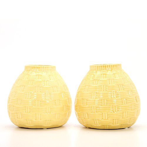 Hosley Set of 2 Ceramic Yellow Vases - 6.5 High. Ideal Gift for Home, Weddings, Party, Spa, Meditation, Home Office, Reiki, Meditation O9