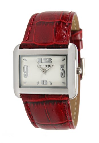 Pedre Women's Silver-Tone Watch with Red Croc-Embossed Leather Strap # 6315SX-Red Croc