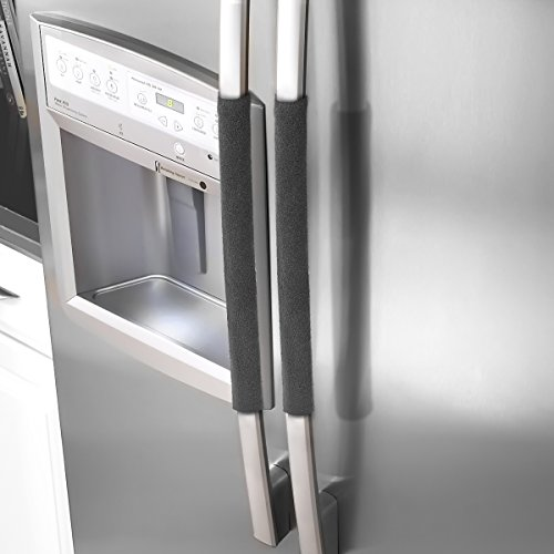 Refrigerator Door Handle Covers,Fridge Oven Dishwasher Protector,Catch Fingerprints&Smudges Kitchen Appliances Handmade Decoration (Black Plush,15.74)