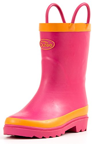 Lined Insoles (Outee Girls Kids Rain Boots Rubber Waterproof Shoes Pink in Solid Color with Easy On Handles Removable Insoles Anti-Slippery Durable Sole with Grip (Size 3))