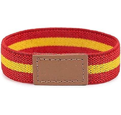VENDOPOLI Pulsera Elastica Bandera España Cuero Talla Unica Adaptable (Rojo): Amazon.es: Joyería