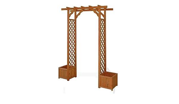 Pergola de madera con rejillas y macetas: Amazon.es: Hogar
