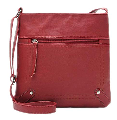 de señoras One PU Red Bolso Las Size del de Cubo Las la Bolsos de Mujeres Brown de Cuero Mensajero pqEEvC