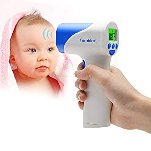 Famidoc Non Contact Infrared Forehead Thermometer for Adults and Baby | LCD Display | 1 Sec Instant Measurement | Multi Functional Design