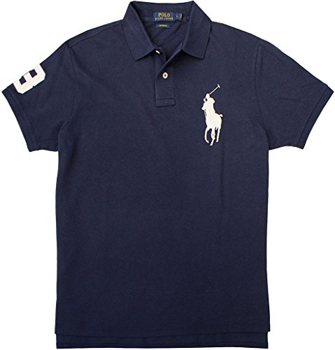 Polo Ralph Lauren Big Pony Mens Custom Fit Mesh Polo Shirt (XL, Blue) (Cotton Mesh Rugby)