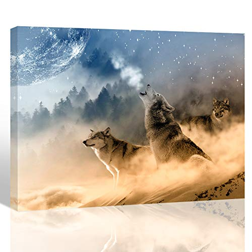 Wolf Photo Frame - Purple Verbena Art Howling Wolves Pictures Canvas Printing Art Modern Nature Animal Photo Painting Home Wall Art Decor for Room Office Living Room Wall Artwork 12x16 inches Picture Frames