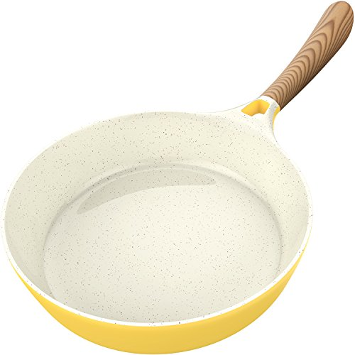 Vremi Ceramic Nonstick Frying Pan - Large 1.7 Quart Fry Pan with Bakelite Handle - for Gas Electric Induction Stovetop - Non Stick Pans for Egg Crepe Pancake - Oven Safe - PTFE and PFOA Free - Yellow