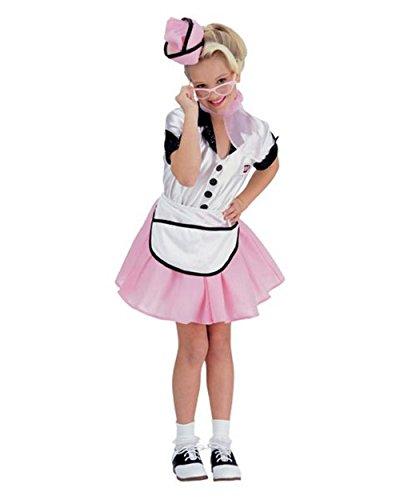 [Soda Pop Girl Child Costume - Medium] (Pink Car Hop Girl Costume)