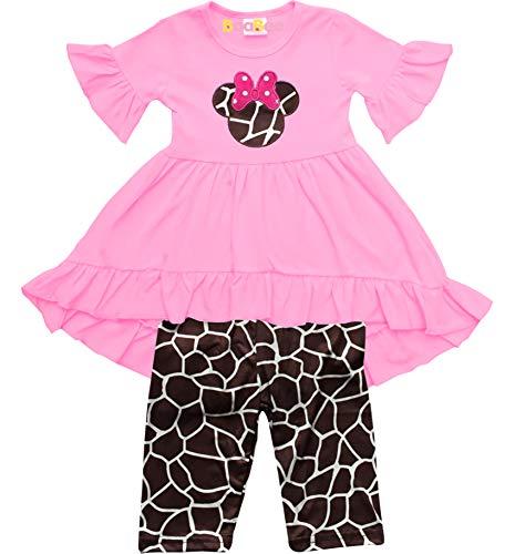Boutique Little Girls Minnie Mouse Head Hi-Low Tunic Capri Outfit 5/L]()
