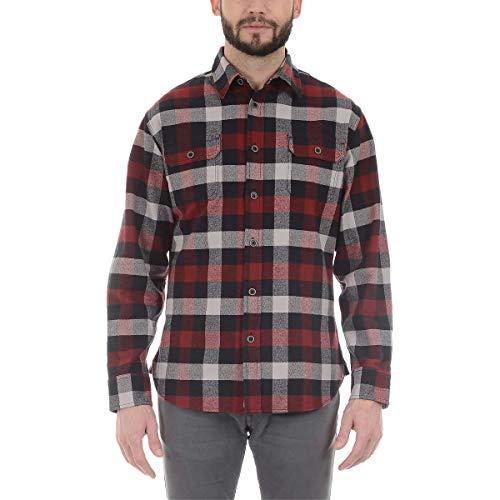 Jachs Men's Brawny Flannel Button Down Shirt (XLT, Red/Black) ()