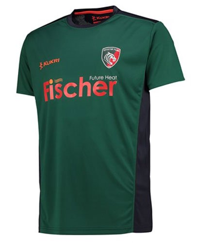 Kukri 2017-2018 Leicester Tigers Players Rugby Training Football Soccer T-Shirt Jersey (Green)