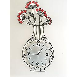 MEIDA Metal Crystal Flower Vase Wall Clock (vase)