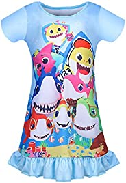 LMM Toddler Nightgowns Girls Baby Pajamas Short Sleeve Nightdress Nightie